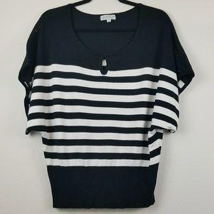 Joseph A black white strip batwing sleeve blouse L